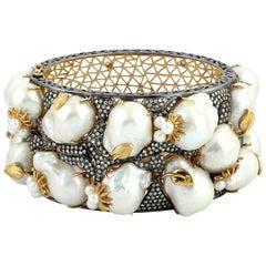 332.84 Carat Pearl Diamond Bracelet Cuff