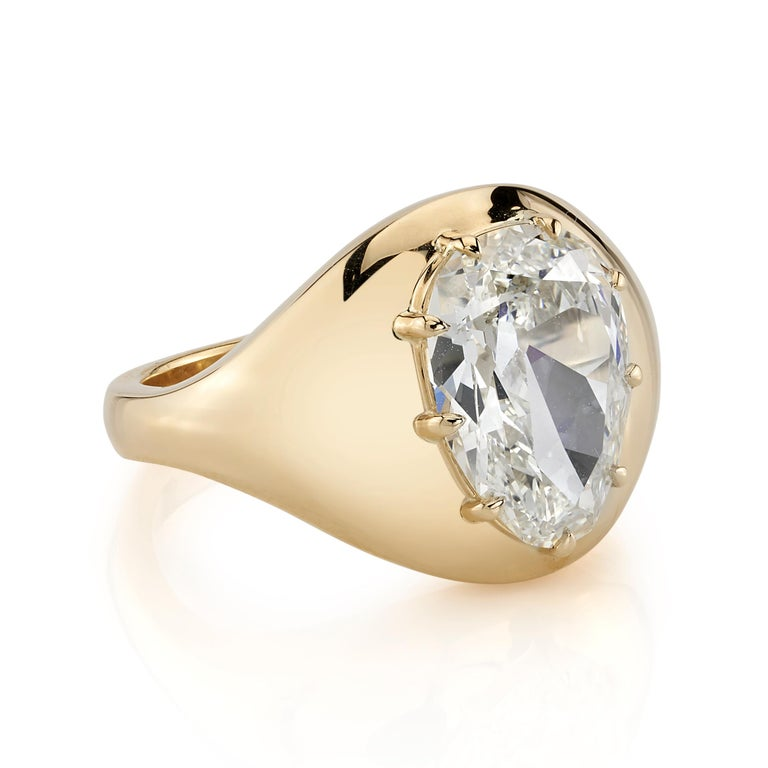 3.32ct M/VS2 GIA certified Pear shaped Brilliant cut diamond set in a handcrafted 18K yellow gold ring. Ring is currently a size 6 and can be sized to fit.