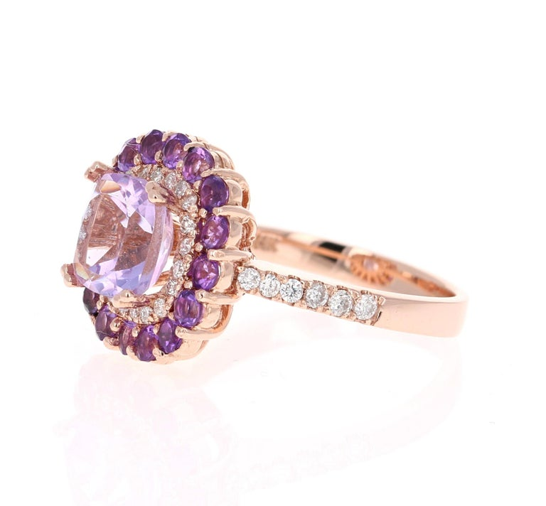 Contemporary 3.56 Carat Cushion Cut Amethyst Diamond 14 Karat Rose Gold Cocktail Ring For Sale