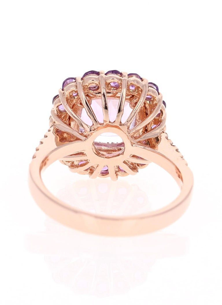 3.56 Carat Cushion Cut Amethyst Diamond 14 Karat Rose Gold Cocktail Ring In New Condition For Sale In San Dimas, CA