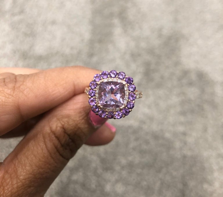 Women's 3.56 Carat Cushion Cut Amethyst Diamond 14 Karat Rose Gold Cocktail Ring For Sale