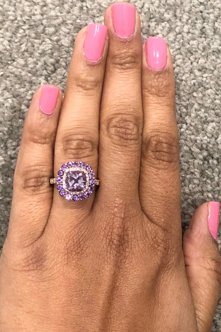 3.56 Carat Cushion Cut Amethyst Diamond 14 Karat Rose Gold Cocktail Ring For Sale 1