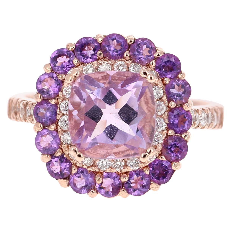 3.56 Carat Cushion Cut Amethyst Diamond 14 Karat Rose Gold Cocktail Ring