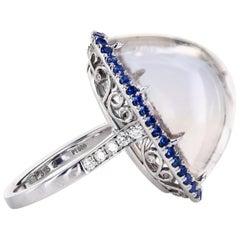 33.3 Carat Bi-Color Cabochon Topaz Platinum Ring Blue Sapphire Pave and Diamonds