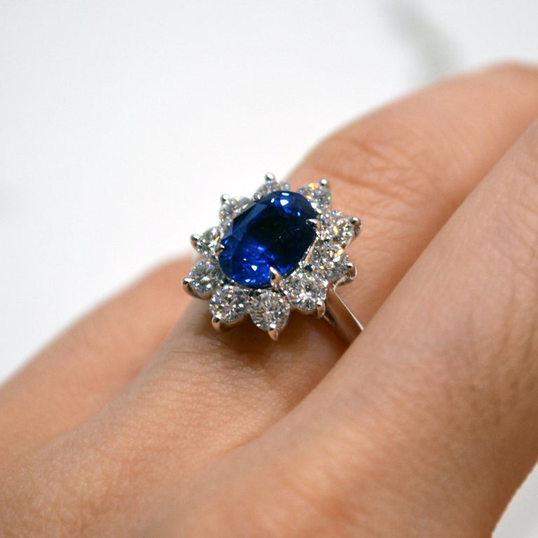 Oval Cut 3.33 Carat Ceylon Blue Sapphire Diamond Halo 18 Karat Gold Princess Diana Ring For Sale