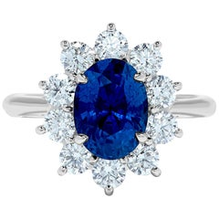 3.33 Carat Ceylon Blue Sapphire Diamond Halo 18 Karat Gold Princess Diana Ring