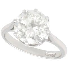 3.33 Carat Diamond and Platinum Solitaire Ring