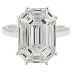 3.33 Carat Emerald Cut Illusion Diamond Ring 18 Karat White Gold
