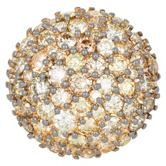 3.33 Carat Multi-Color and Yellow Diamond Dome Ring in 18 Karat Two-Tone Gold