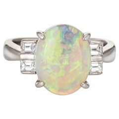 3.33 Carat Natural Opal Diamond Cocktail Ring Platinum Estate Fine Jewelry