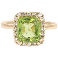 3.33 Carat Peridot Diamond Engagement Yellow Gold Ring