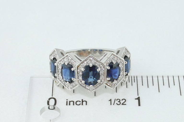 3.33 Carat Five-Stone Hexagon Blue Sapphire Diamond Gold Band Ring For Sale 1