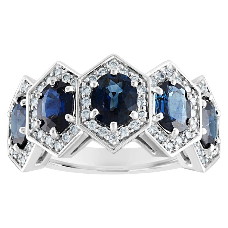 3.33 Carat Five-Stone Hexagon Blue Sapphire Diamond Gold Band Ring For Sale