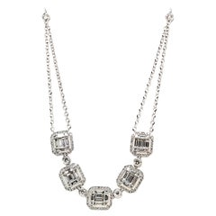 3.34 Carat 5-Section Baguette Pendant with Halos and Bezel Set Rounds