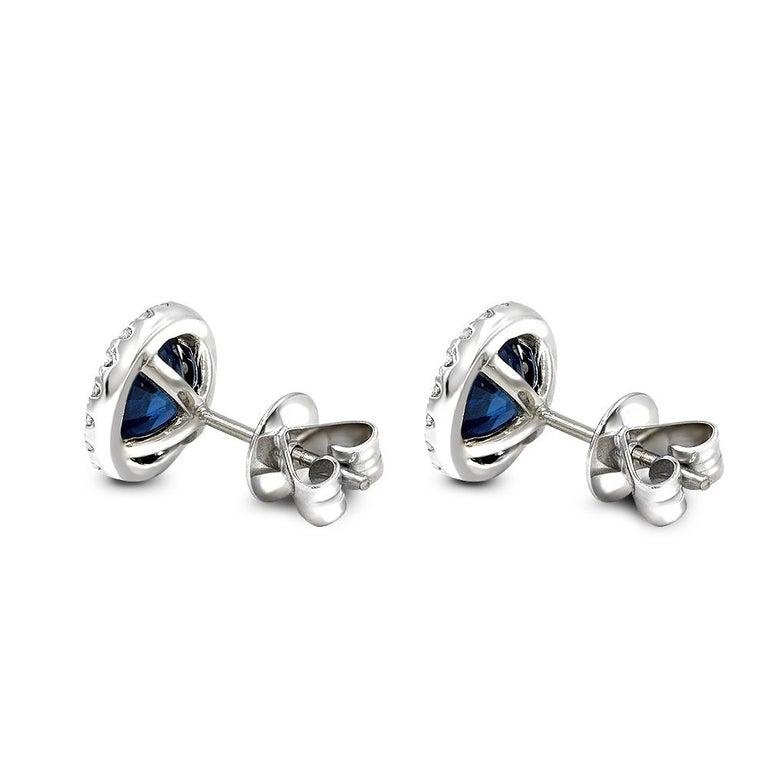 Round Cut 3.34 Carat Blue Sapphire .47 Carat Diamond Jacket Stud Earrings For Sale
