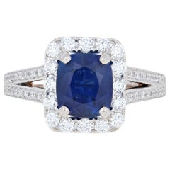 3.34 Carat Cushion Cut Sapphire and Diamond Ring, 18k White Gold Milgrain Halo
