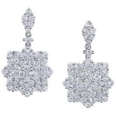 3.34 ct. t.w. Diamond Pave, 18k White Gold Starry Snowflake Dangle Drop Earrings