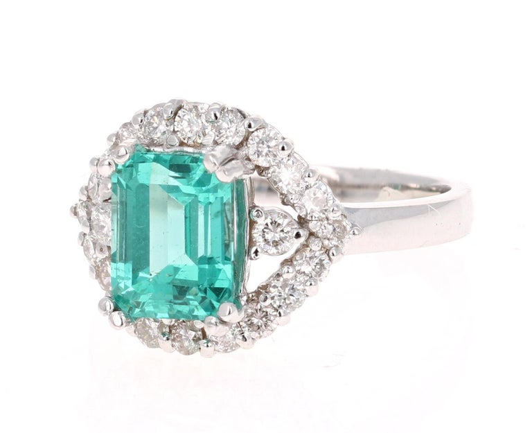 Modern 3.34 Carat Apatite Diamond White Gold Cocktail Ring For Sale