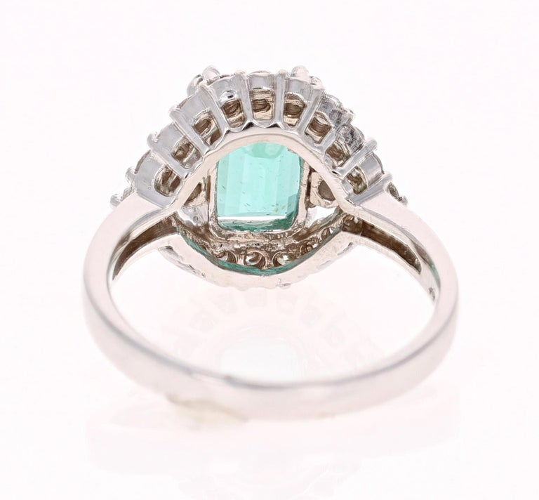 Emerald Cut 3.34 Carat Apatite Diamond White Gold Cocktail Ring For Sale