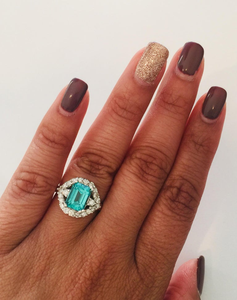 3.34 Carat Apatite Diamond White Gold Cocktail Ring In New Condition For Sale In San Dimas, CA