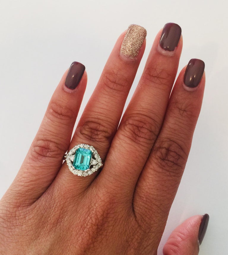 Women's 3.34 Carat Apatite Diamond White Gold Cocktail Ring For Sale