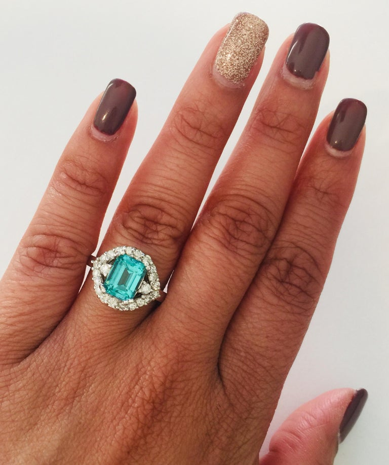 3.34 Carat Apatite Diamond White Gold Cocktail Ring For Sale 1