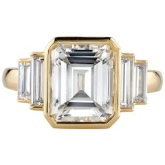3.34 Carat F/VS1 GIA Certified Emerald Cut Diamond Set in an 18 Karat Gold Ring