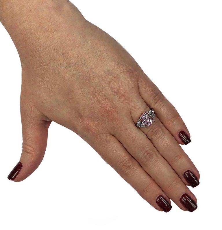 Radiant Cut Vivid Diamonds 3.34 Carat Fancy Pinkish Purple Diamond Ring For Sale