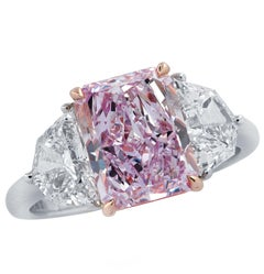 Vivid Diamonds 3.34 Carat Fancy Pinkish Purple Diamond Ring