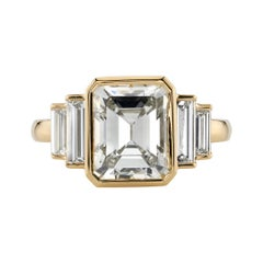 3.34 Carat GIA Certified Emerald Cut Diamond Set in an 18 Karat Yellow Gold Ring