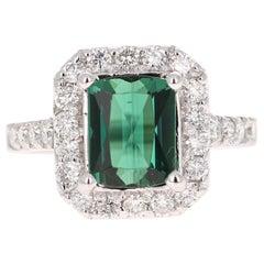3.34 Carat Green Tourmaline Diamond 14 Karat White Gold Engagement Ring