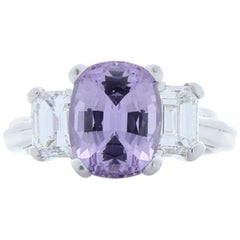 3.34 Carat Lavender Spinel and Emerald Cut Diamond White Gold Cocktail Ring