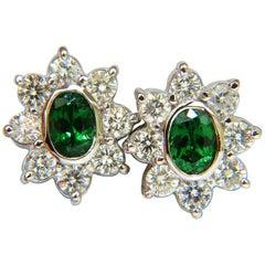 3.34 Carat Natural Gem Green Tsavorite Diamond Cluster Halo Earrings 14 Karat