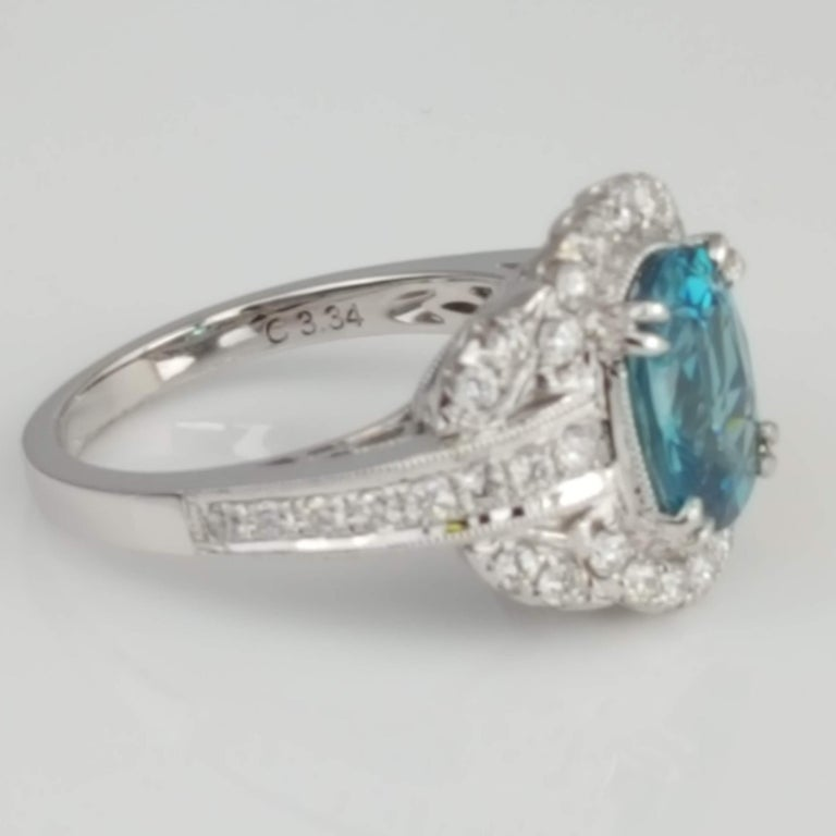 Contemporary DiamondTown 3.34 Carat Oval Cut Blue Zircon and Diamond Halo Ring For Sale