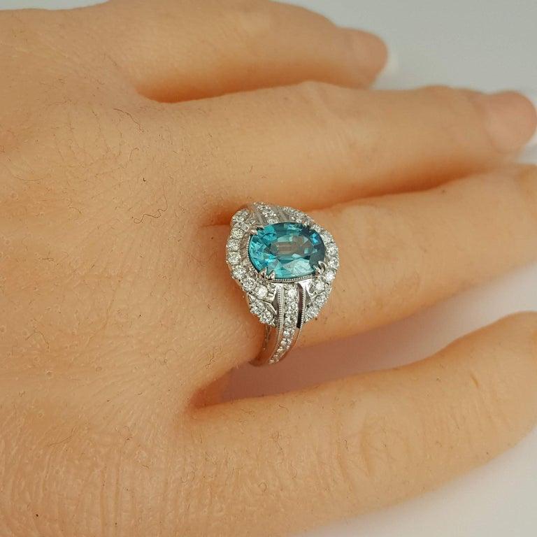 Women's DiamondTown 3.34 Carat Oval Cut Blue Zircon and Diamond Halo Ring For Sale