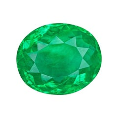 3.34 Carat Oval Natural Colombian GRS Certified Emerald