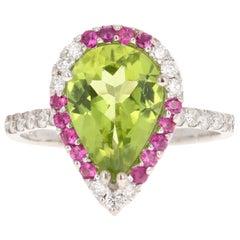 3.34 Carat Peridot Diamond Sapphire 14 Karat White Gold Ring
