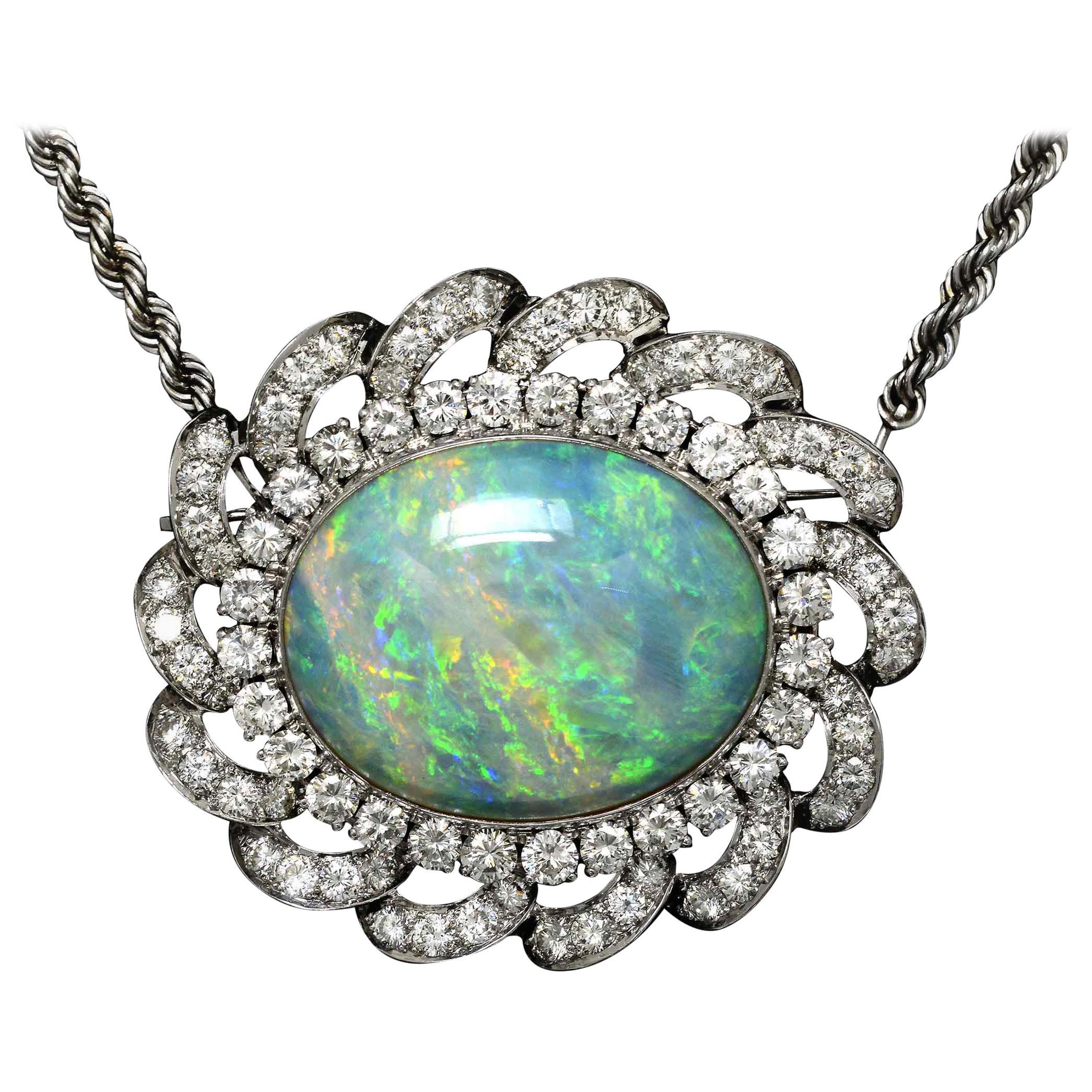 Incredible 33 Carat Opal Necklace 8 Carats Diamonds Modernist Space Age Design