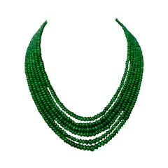 335 Carat 6 Layer Natural Brazilian Emerald Bead Necklace Sterling Silver Clasp