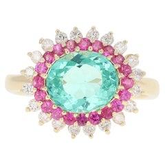 3.35 Carat Apatite Pink Sapphire Diamond 14 Karat Yellow Gold Ring