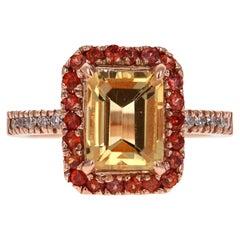 3.35 Carat Emerald Cut Citrine, Sapphire Diamond 14 Karat Gold Engagement Ring