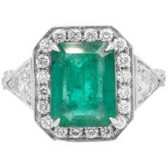 3.35 Carat Colombian Emerald Trillion Cut Diamond White Gold Cocktail Ring