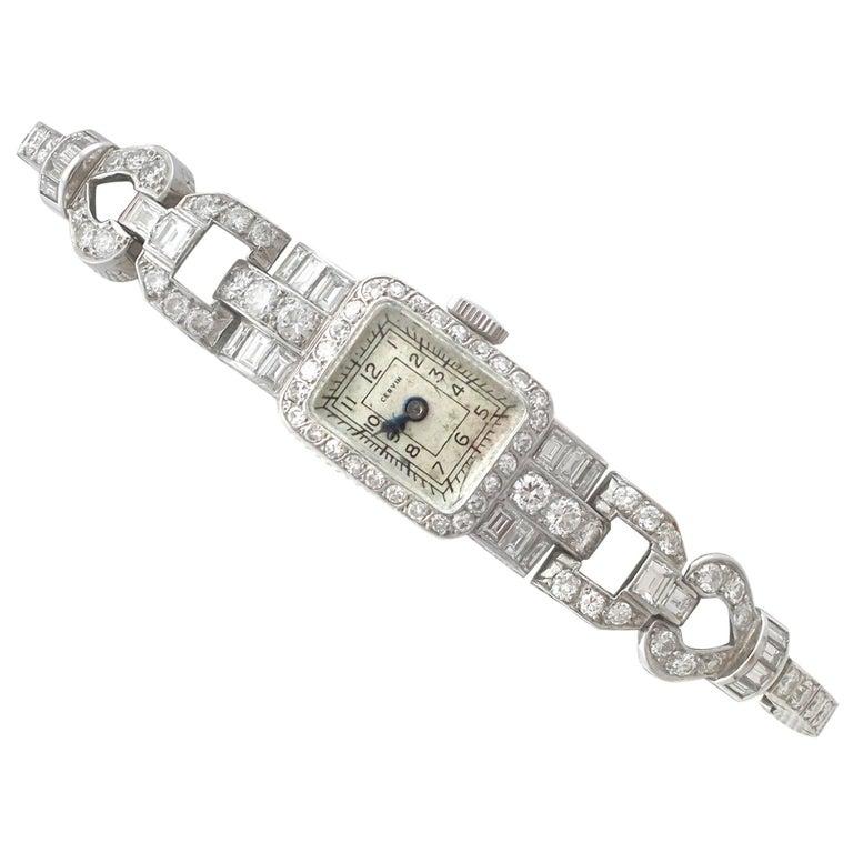 1940s 3.35 Carat Diamond and Platinum Cocktail Watch