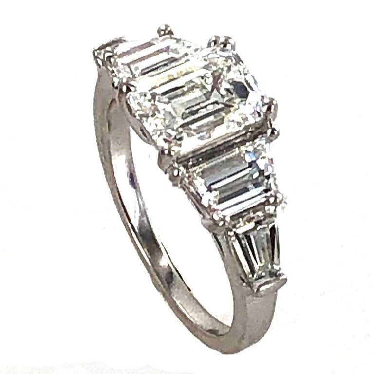 3.35 Carat Emerald Cut Diamond Engagement Ring GIA Certified In Excellent Condition For Sale In Boca Raton, FL