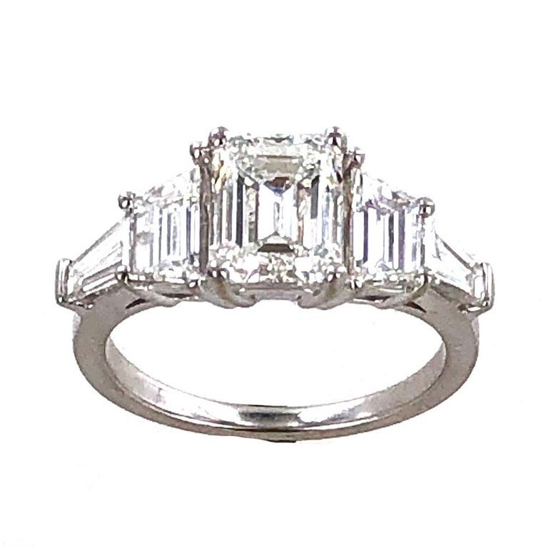 Women's 3.35 Carat Emerald Cut Diamond Engagement Ring GIA Certified For Sale