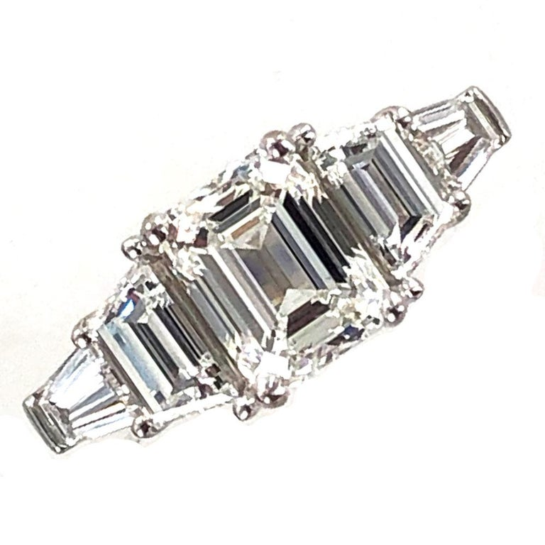 3.35 Carat Emerald Cut Diamond Engagement Ring GIA Certified For Sale 1