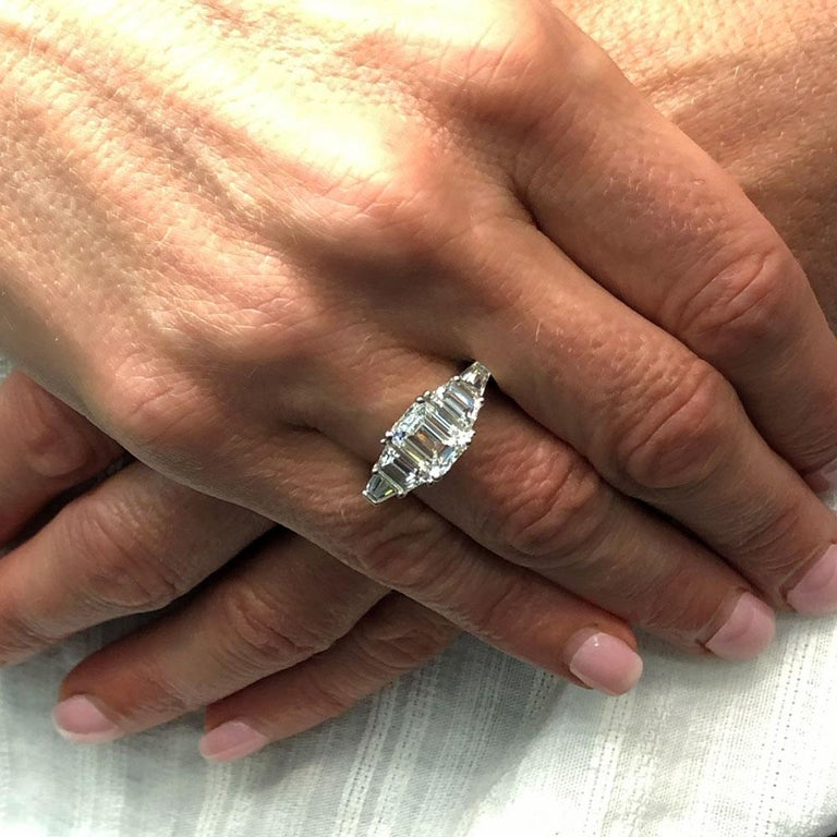 3.35 Carat Emerald Cut Diamond Engagement Ring GIA Certified For Sale 3