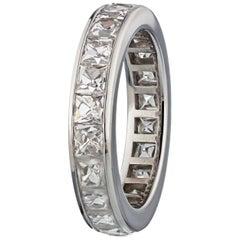 3.35 Carat French Cut Diamond Eternity Ring in Platinum