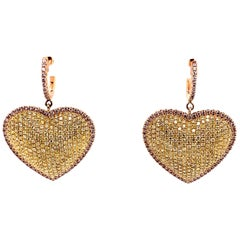 3.35 Carat Natural Pink Diamond Heart Earrings