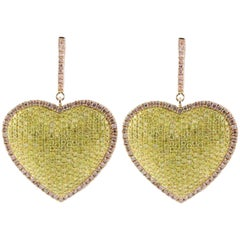 3.35 Carat Natural Pink Diamond Heart Earrings